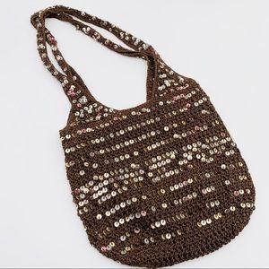 90's Vintage Crochet Sequin Hobo Bucket bag